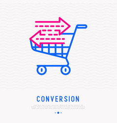 Conversion line icon shopping cart with arrows vector