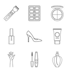 cosmetology icons set outline style vector image