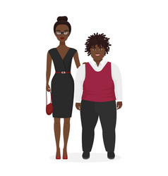 cute african american pair fat boy and slim vector image