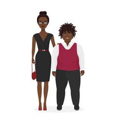Cute african american pair fat boy and slim vector