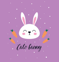 cute easter card with rabbit and carrots vector image