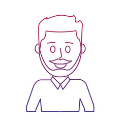 degraded outline nice man with mustache design and vector image