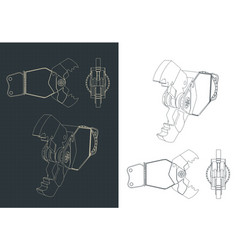 Demolition shear blueprints vector