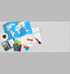 Diary for travel planning world tour poster flat vector