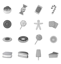Different candy icons set monochrome style vector