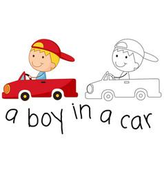 Doodle happy boy riding a car vector