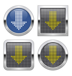 Dotted icon downward direction arrow on glossy vector