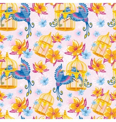 Dream colorful seamless pattern with birds vector