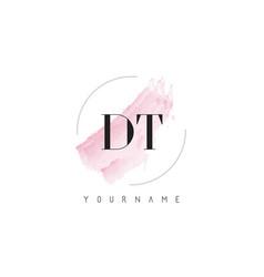 Dt d t watercolor letter logo design with vector
