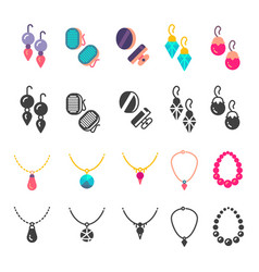 Earrings eardrops and necklace icons vector