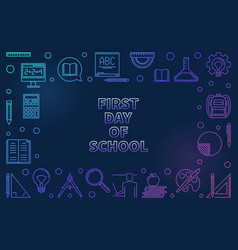 first day school concept colored linear vector image