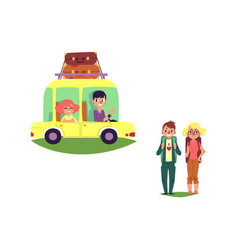 flat people travelling in car isolated vector image