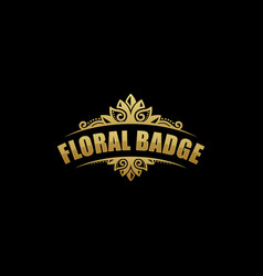 Floral badge template vector