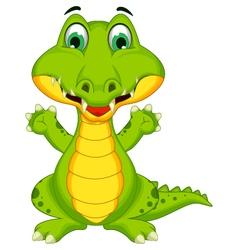 Funny crocodile cartoon posing vector