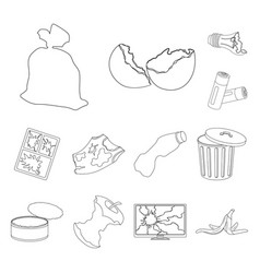 Garbage and waste outline icons in set collection vector
