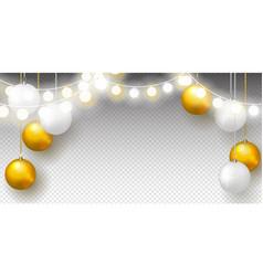 garland and golden christmas balls vector image