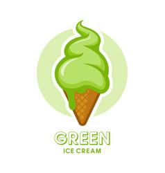 Green ice cream icon vector