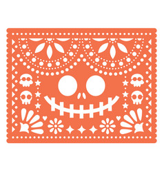 halloween papel picado design with skulls vector image