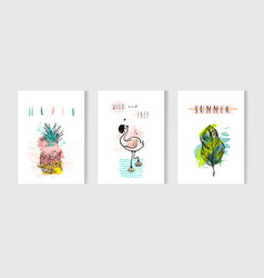 Hand drawn abstract summer time cards set vector