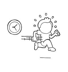 Hand-drawn cartoon of man running late with clock vector