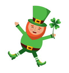 happy leprechaun jumping holding clover in hand vector image
