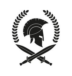 Icon a spartan helmet in a laurel wreath vector