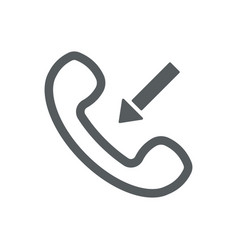 incoming call icon with outline handset and arrow vector image