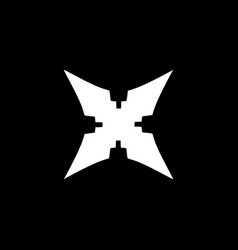 Initial letter x logo template with shuriken vector