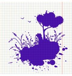 ink landscape vector image