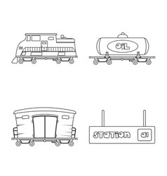 Isolated object of train and station logo set of vector