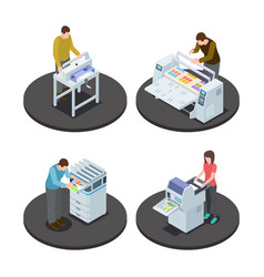 isometric printing house icons concept with vector image