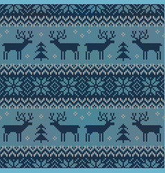knitted scandinavian pattern with deers vector image