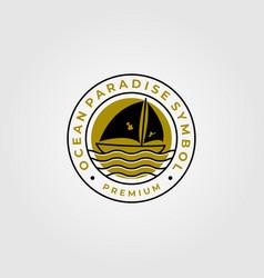 line art sailing yacht minimalist logo symbol vector image