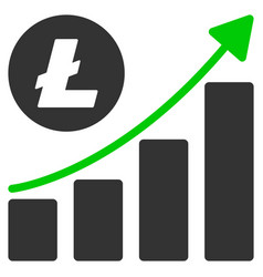 litecoin growing trend flat icon vector image