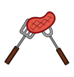 meat steak with fork and spatula vector image