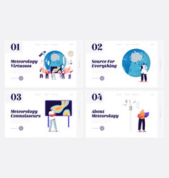 meteorology landing page template set tiny vector image