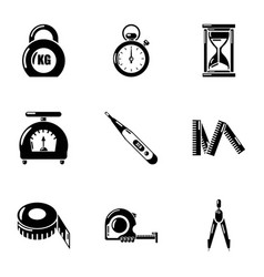 Meter icons set simple style vector