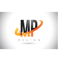 mp m p letter logo with fire flames design and vector image