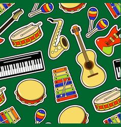 Musical instruments sticker seamless pattern vector