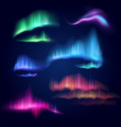 northern lights aurora borealis isolated vector image