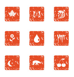 Northern policy icons set grunge style vector