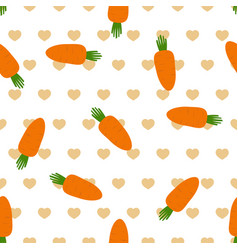 Pattern with carrot and heart vector
