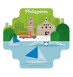 Philippines travel and attraction vector