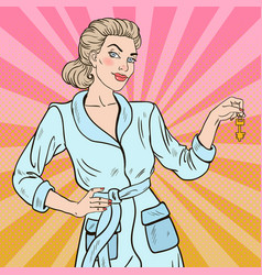 pop art beautiful blonde woman with key vector image