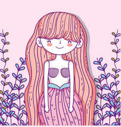 Pretty mermaid woman with branches leaves vector