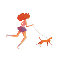 Red-haired woman runs with a dog vector