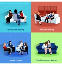 Relationship counseling 4 flat icons quare vector image