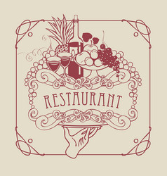 restaurant menu with hand tray and still life vector image