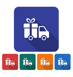 Rounded square icon of delivery car flat style vector