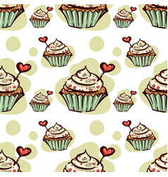 seamless pattern with cupcake with red heart vector image